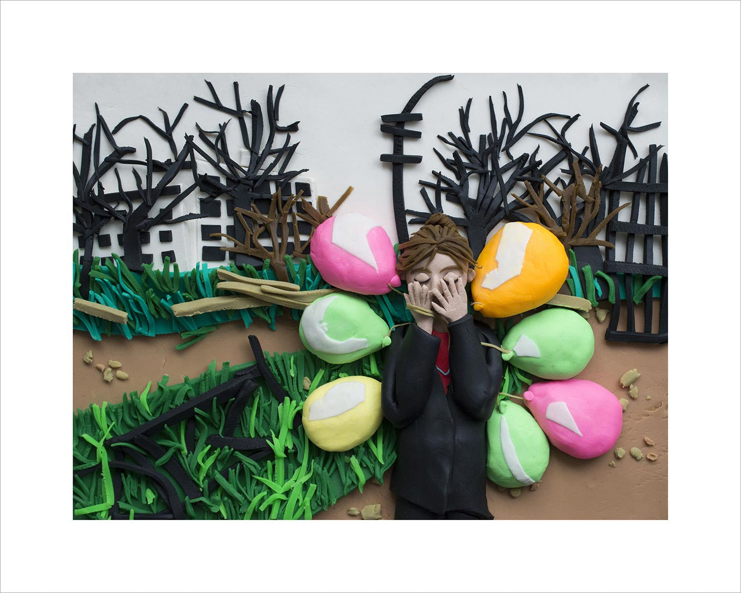 Photographs Rendered in Play-Doh: Girl with balloons, Grozny, Chechnya, Russia, March 2002 by Thomas Dworzak