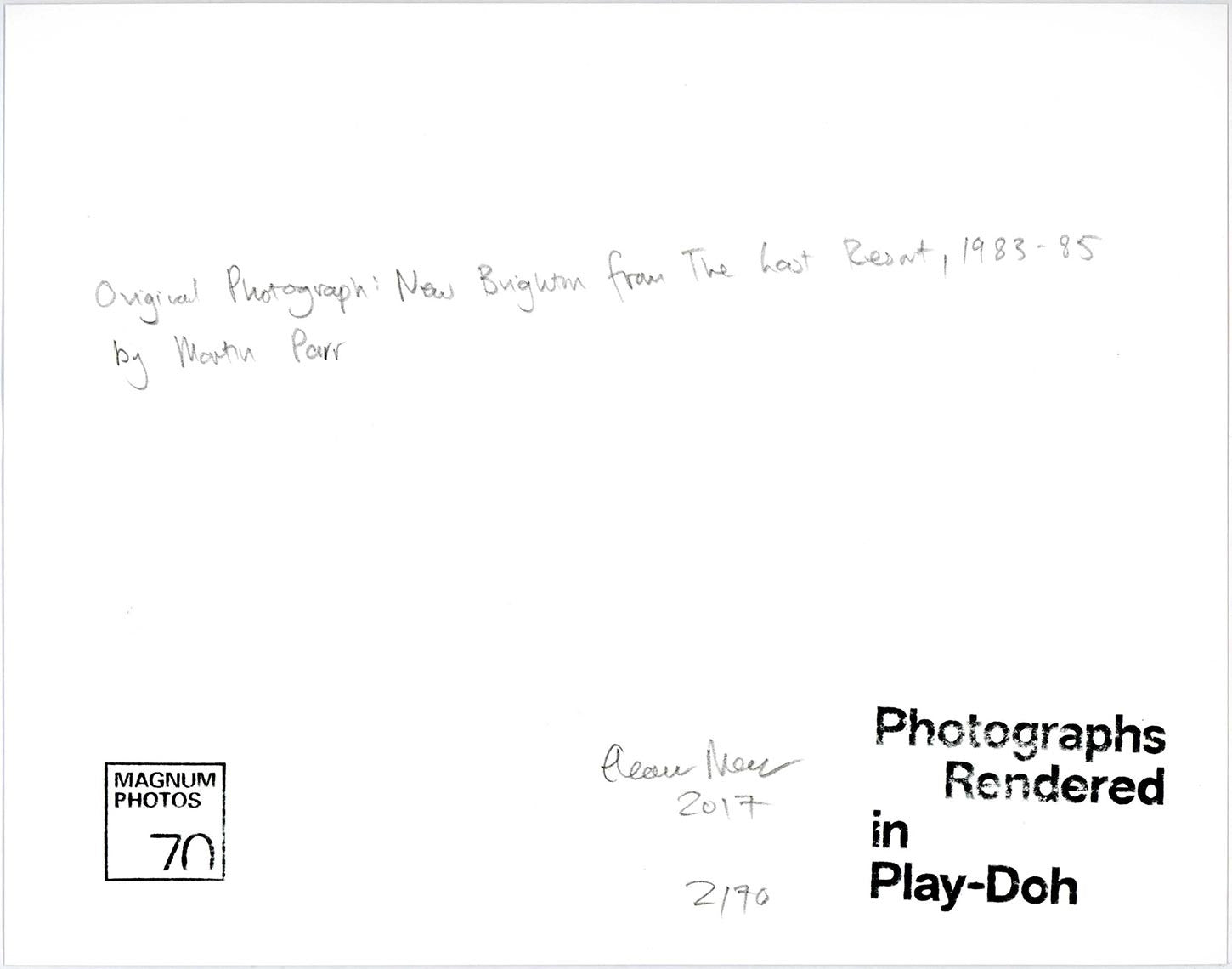 Photographs Rendered in Play-Doh: New Brighton. From 'The Last Resort', 1983-85 by Martin Parr