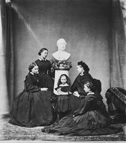 Victorian princesses mourning round a bust of their father Albert