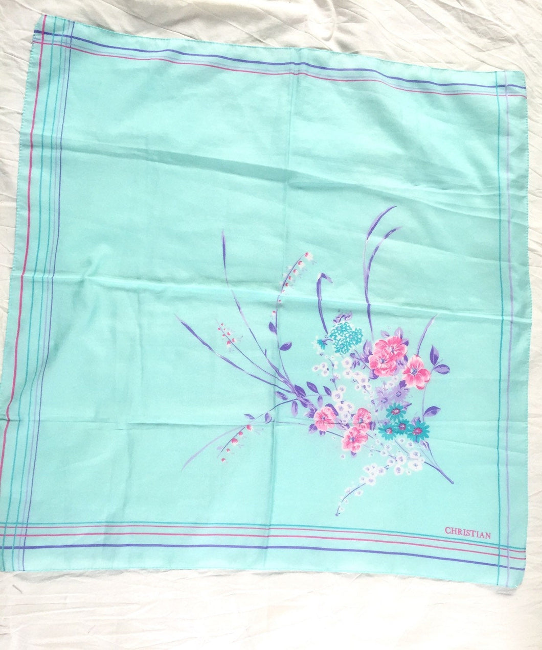 Mint Green Square Scarf Aqua CHRISTIAN Floral Vintage Square Scarf in Seafoam Green