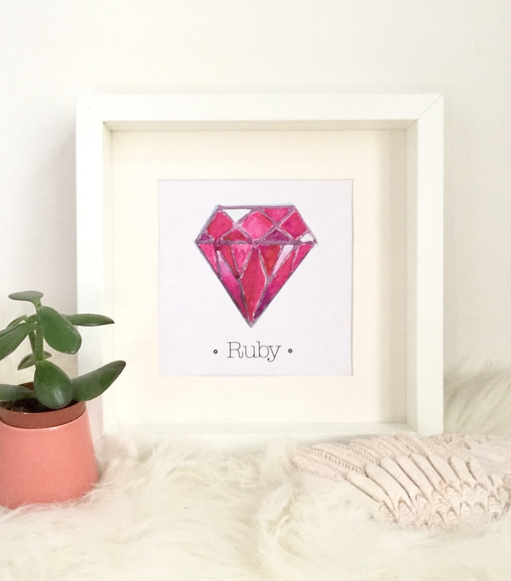 RUBY Birthstone Print, July Birthstone is Ruby. Choose Framed or Unframed