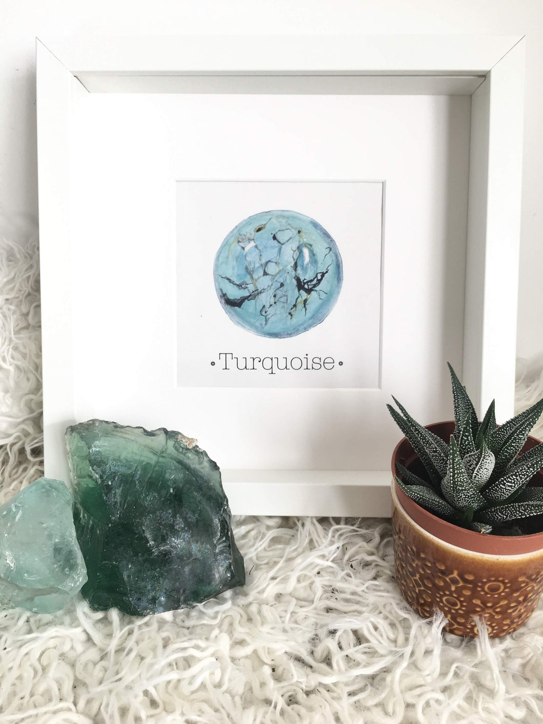 December Birthstone TURQUOISE Wall Art Print. Choose Framed or Unframed