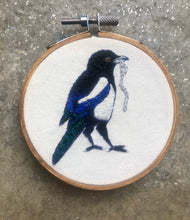 Load image into Gallery viewer, Embroidered Magpie Hoop Art Embroidery, The Thief, Thieving Magpie with Silver chain,  Embroidery Art Small Circular Hoop, Tiny art Corvids