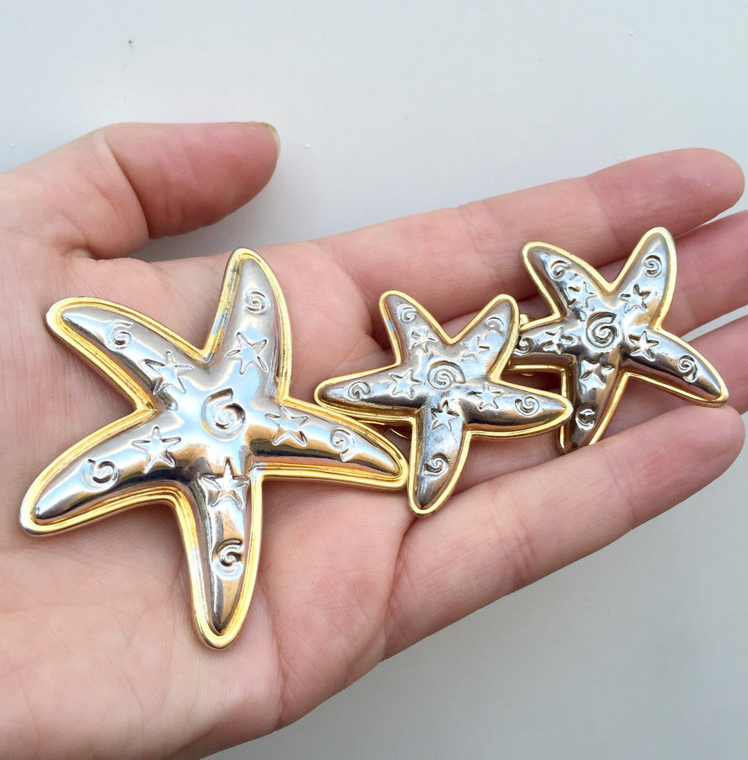 Starfish Brooch Earrings Demi Parure, Vintage Parure Brooch & Earring set, Silver and Gold Starfish Jewelry Set, Vintage Beach