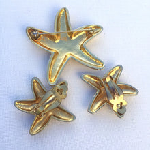Load image into Gallery viewer, Starfish Brooch Earrings Demi Parure, Vintage Parure Brooch & Earring set, Silver and Gold Starfish Jewelry Set, Vintage Beach