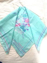 Load image into Gallery viewer, Mint Green Square Scarf Aqua CHRISTIAN Floral Vintage Square Scarf in Seafoam Green