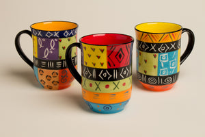 Muticolor African ceramic mugs - microwave & dishwasher safe