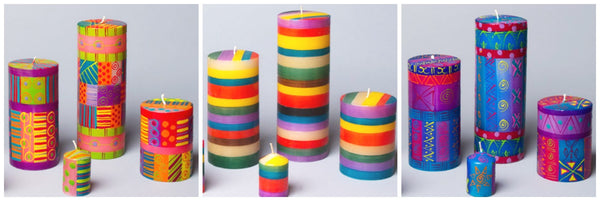 hand painted candles in colors of Holi