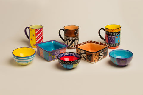 Handmade and hand painted ceramic mugs and serving dishes. Fair Trade.