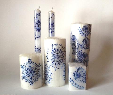Henna blue on white candle collection