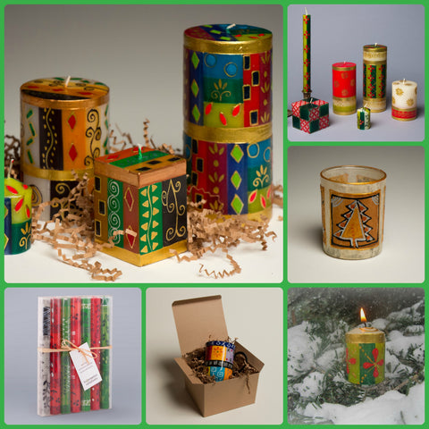 Selection of Kapula hand made and hand painted candles.