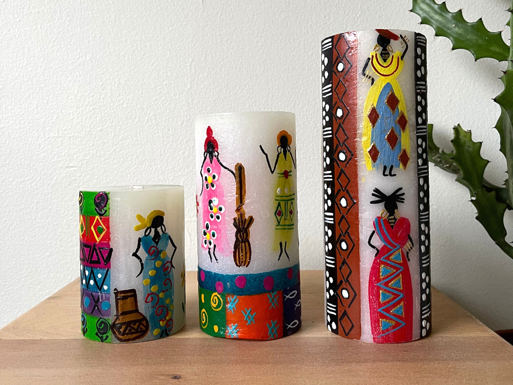 African Ladies Painted Candles