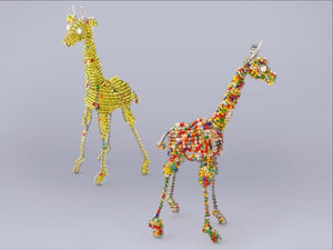 Giraffes handmade from recycled materials and beads. Colorful characters!