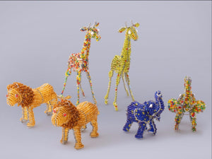 African Animals handmade from recycled materials and beads.  FairTrade Gifts.