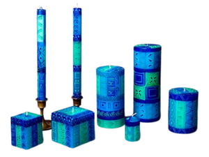 Blue & Green Painted Candles