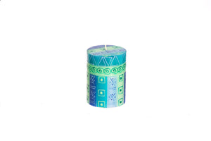 "Blue & Green 3"" x 4"" pillar candle hand poured and hand painted candles made in South Africa. Fair Trade."