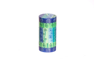 "Blue & Green 3"" x 6"" pillar candle hand poured and hand painted candles made in South Africa. Fair Trade."