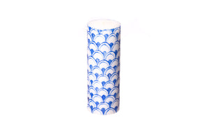 "Blue & White 3"" x 8"" pillar candles hand poured and hand painted in South Africa. Fair Trade home decor."