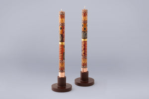 Taper Candle Holders in brown hand crafted by artisans in South Africa.