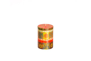 "Desert Rose 3"" x 4"" pillar candle hand poured and hand painted in South Africa.  Fair trade home decor."