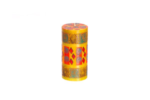 "Desert Rose 3"" x 6"" pillar candle hand poured and hand painted in South Africa.  Fair trade home decor."