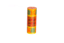 "Desert Rose 3"" x 8"" pillar candle hand poured and hand painted in South Africa.  Fair trade home decor."