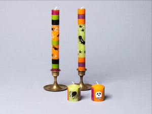 Halloween hand crafted taper candles and votive candles made in South Africa. Fair Trade.