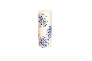 "Henna Blue on White 3"" x 8"" pillar hand painted candles. Fair Trade."