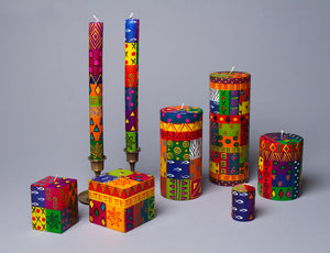 Multi Color Ethnic hand crafted artisanal candles made in South Africa. Fair trade home decor & gifts.