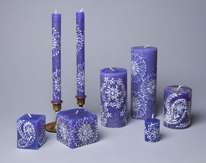Henna White on Blue hand poured and hand painted candles made in South Africa. Fair trade home decor.