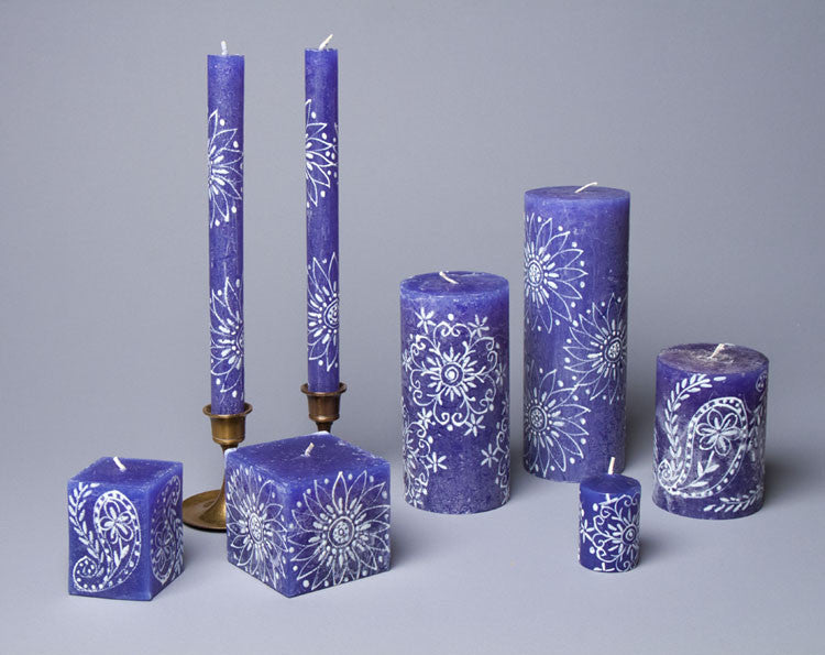 Henna White on Blue hand poured and hand painted candle collection made in South Africa. Fair trade home decor.