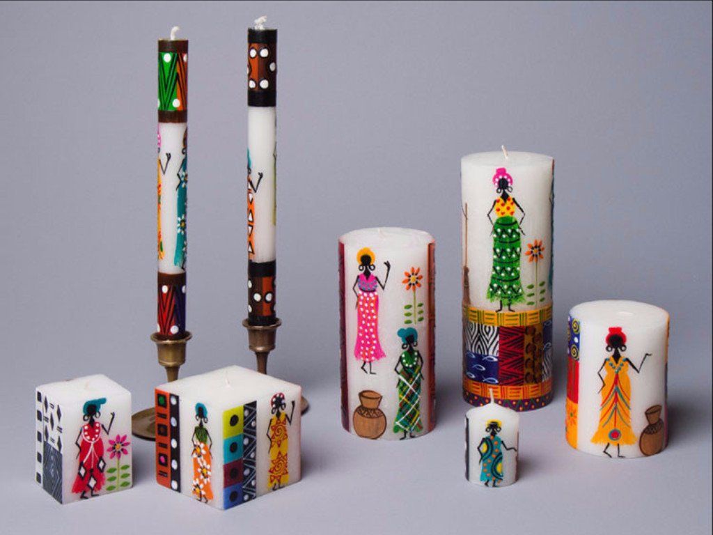 African Ladies Candles that are hand poured and hand painted in South African. Fair Trade.