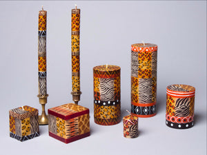Animal Print hand poured and hand painted candles made in South Africa. Fair trade.