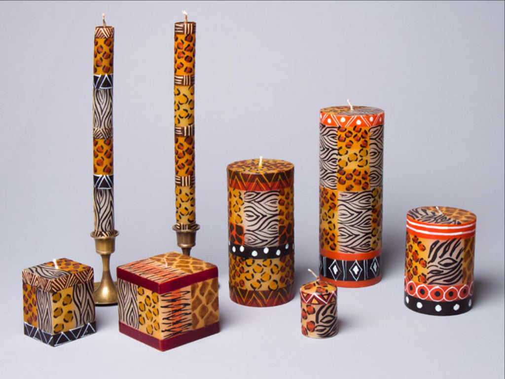 Animal Print hand poured and hand painted candle collection hand made in South Africa. Fair trade.