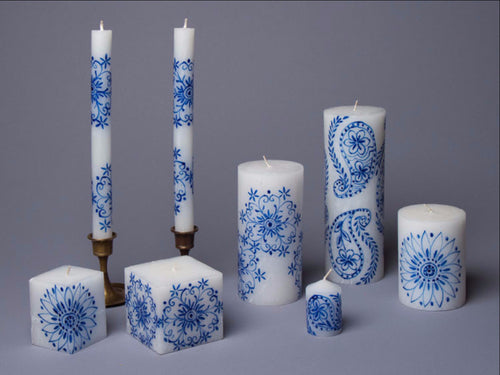 Henna Blue on White hand poured and hand painted candles made in South Africa. Fair trade.