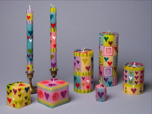 Pastel Hearts candle collection of  handmade & hand painted artisan candles. Fair trade products.