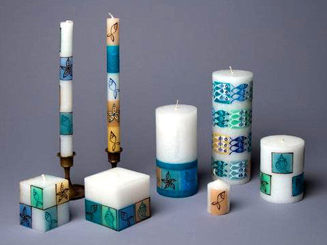 Arniston hand poured and hand painted candles made in South Africa. Fair Trade.