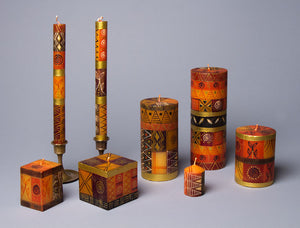 Safari Gold hand poured and hand painted candle collection. Fair trade home decor.