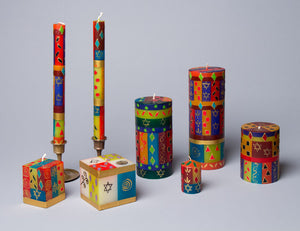 Judaica design on  handcrafted candle collection made in South Africa. Fair trade home decor.