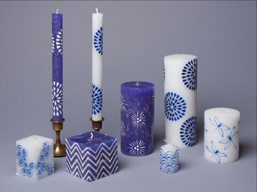 Blue & White hand poured and hand painted candles made in South Africa. Fair Trade.