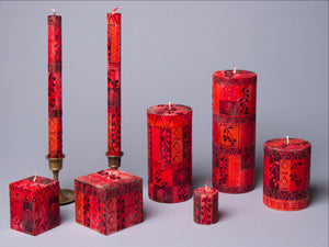 Berry Blaze red hand poured and hand painted candle collection made in South Africa. Fair Trade.