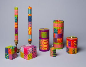 Carousel hand poured and hand painted candles made in South Africa. Fair trade home decor.