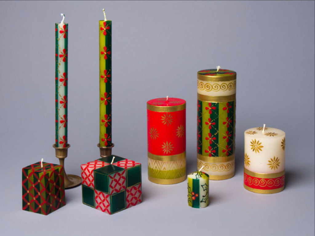 Christmas hand poured and hand painted candles. Made in South Africa. Fair trade home decor.