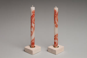 Taper Candle Holders in white wash hand crafted by Detroit artisans out of reclaimed wood, available in 3 colors.