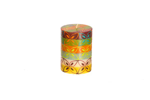 "Magic Garden 3"" x 4"" pillar candle hand painted in South Africa by Kapula.  Fair trade home decor."