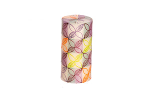 "Magic Garden 3"" x 6"" pillar candle hand painted in South Africa by Kapula.  Fair trade home decor."