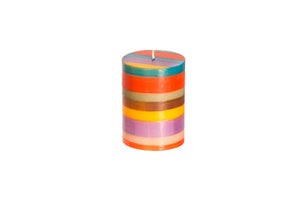 "Memphis Stripe artisanal hand crafted 3"" x 4"" pillar candle made in South Africa."