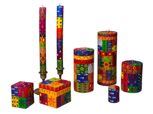 Multi Color Ethnic Painted Candles