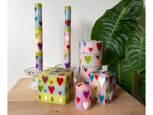 Pastel Hearts Painted Candles