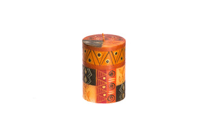 "Safari Gold 3"" X 4"" pillar candle hand poured and hand painted in tones of brown and gold.  Fair trade."